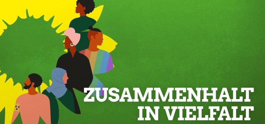 """Das grüne Sonnenblumen-Logo auf grünem Hintergrund; vielfältige Menschen auf der Sonnenblume; Schriftzug: """"Zusammenhalt in Vielfalt"""""""